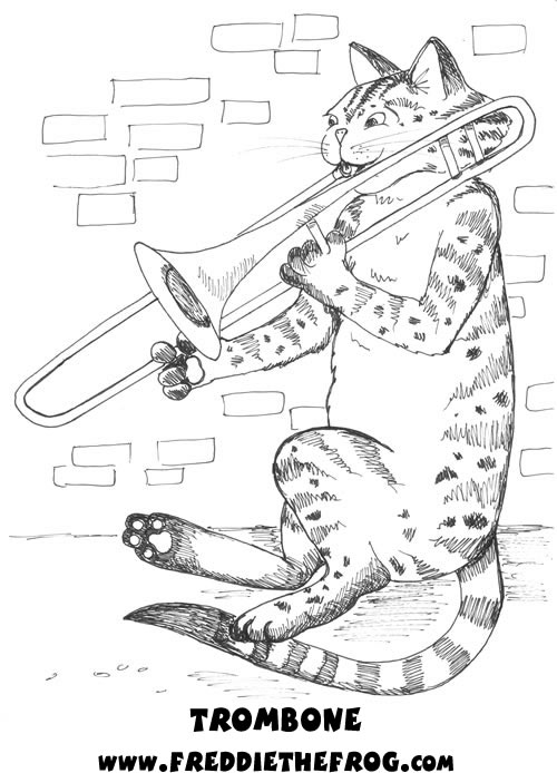 It is a picture of Ridiculous trombone coloring page